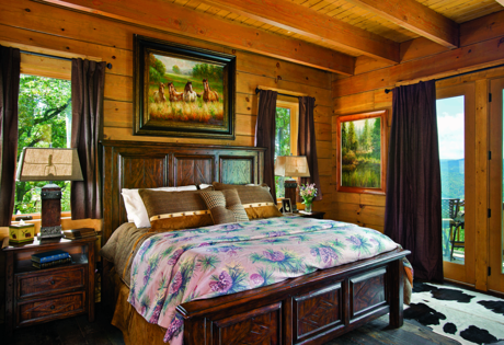 log home bedroom bright